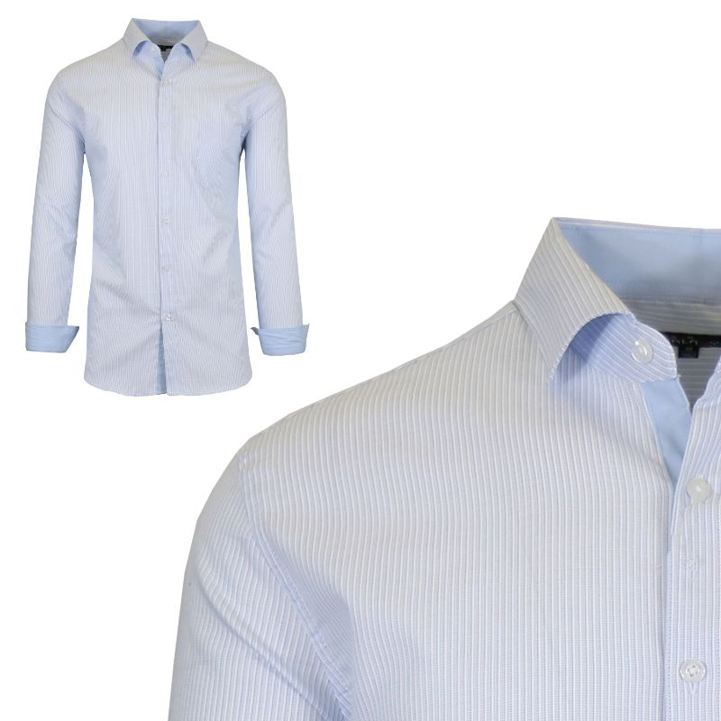 Mens Long Sleeve Slim-Fit Cotton Dress Shirts W/ Chest Pocket-Light Blue/White-Small-Daily Steals