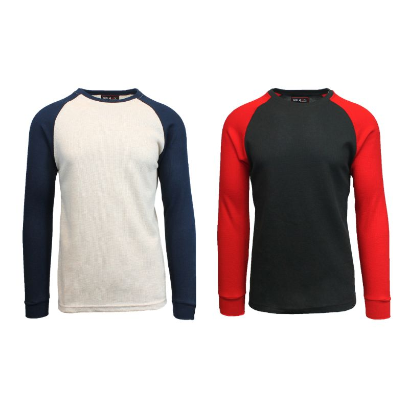 Men's Raglan Thermal Shirt - 2 Pack-Oatmeal/Navy & Black/Red-Small-Daily Steals