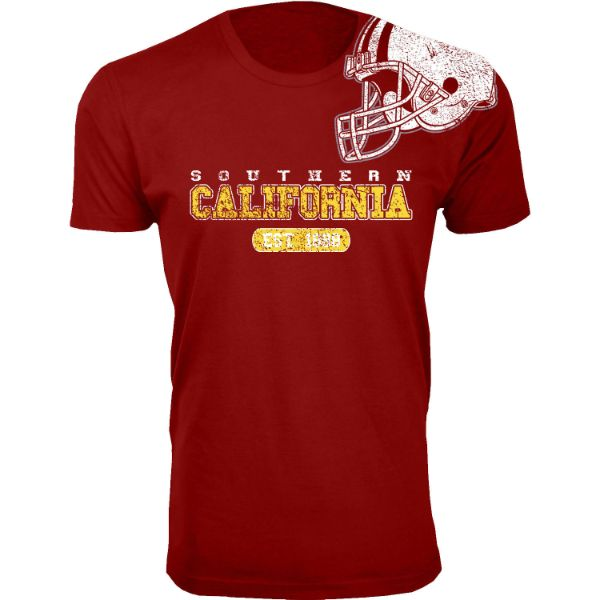 Men's Awesome College Football Helmet T-Shirts-S-Southern California - Burgundy-Daily Steals