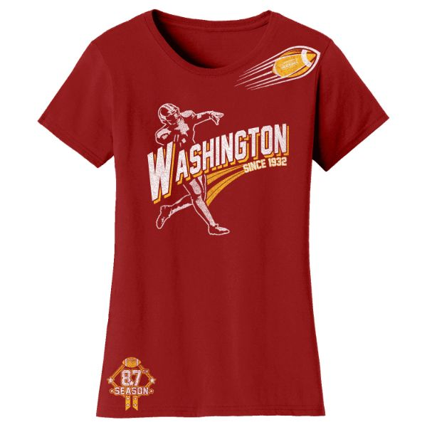 Women's Football Season T-Shirts-Washington - Burgundy-S-Daily Steals