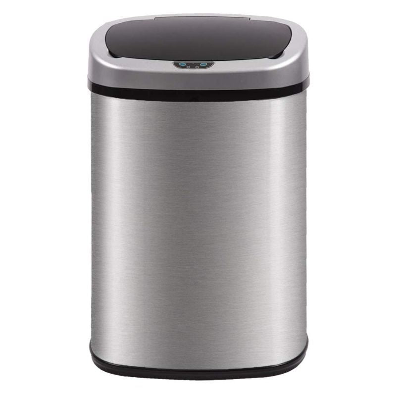 13-Gallon Automatic Touch Free Motion Sensor Trash Can-Stainless Steel-Daily Steals