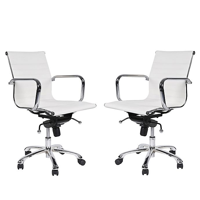 Delancey Mid-Back Adjustable Office Chair - Set of 2-White-Daily Steals