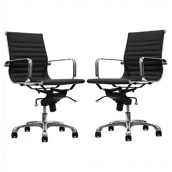 Delancey Mid-Back Adjustable Office Chair - Set of 2-Black-Daily Steals