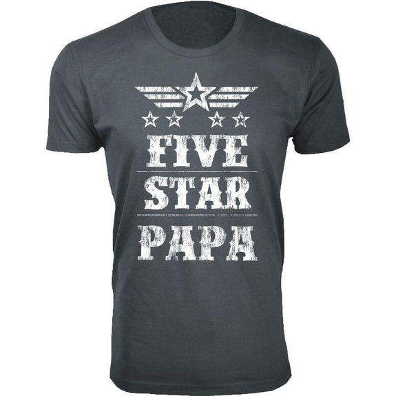Men's Five Star Father's Day T-shirts-Papa - Charcoal-S-Daily Steals