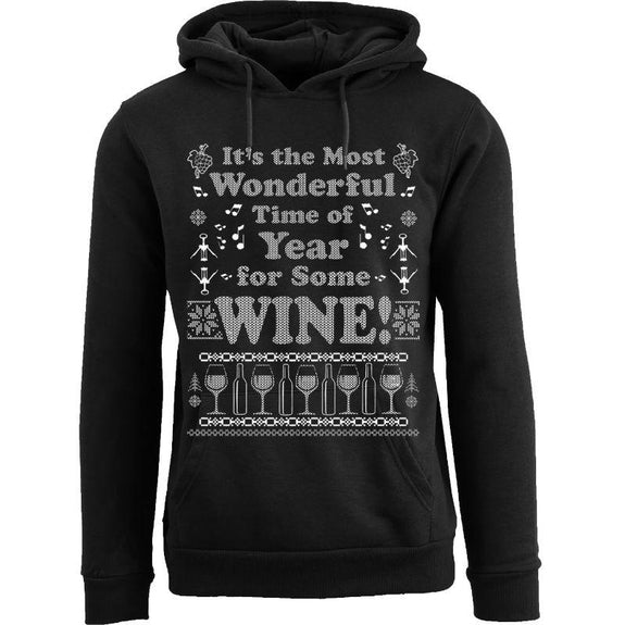 Women's Funny Christmas Pull Over Hoodie-Wonderful Time of Year for Some Wine - Black-S-Daily Steals