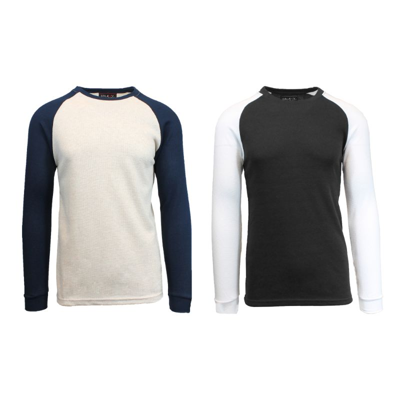 Men's Raglan Thermal Shirt - 2 Pack-Oatmeal/Navy & Black/White-Small-Daily Steals