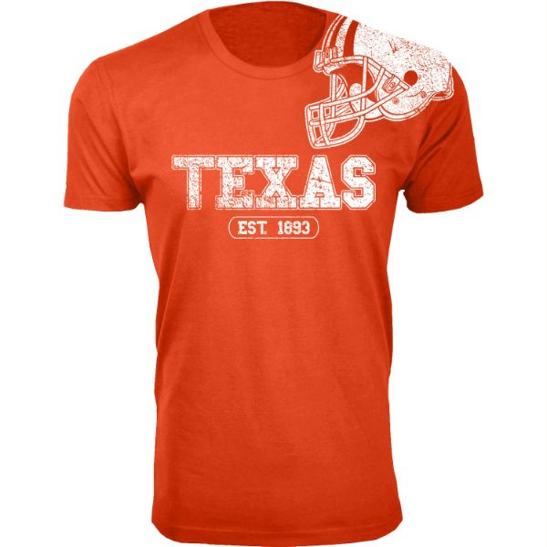 Men's Awesome College Football Helmet T-Shirts-S-Texas - Orange-Daily Steals