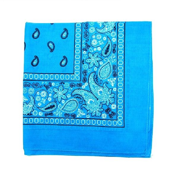 100% Cotton 18 Pack Bandana - 22 x 22-Paisley Turquoise-Daily Steals