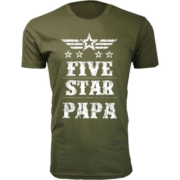 Men's Five Star Father's Day T-shirts-Papa - Military Green-3XL-Daily Steals