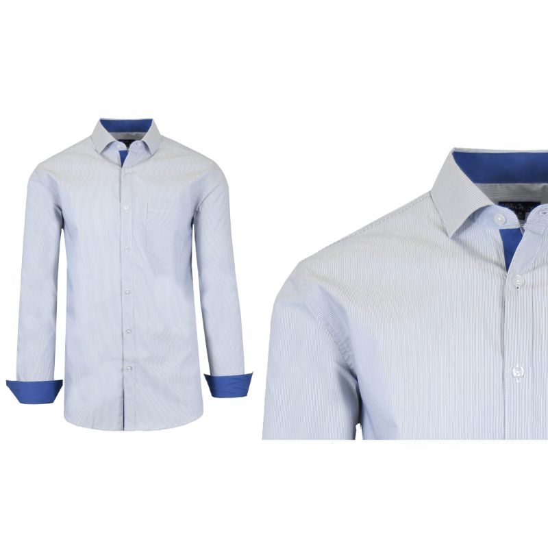 Mens Quick Dry Performance Stretch Dress Shirts-White/Royal Blue-Large-Daily Steals