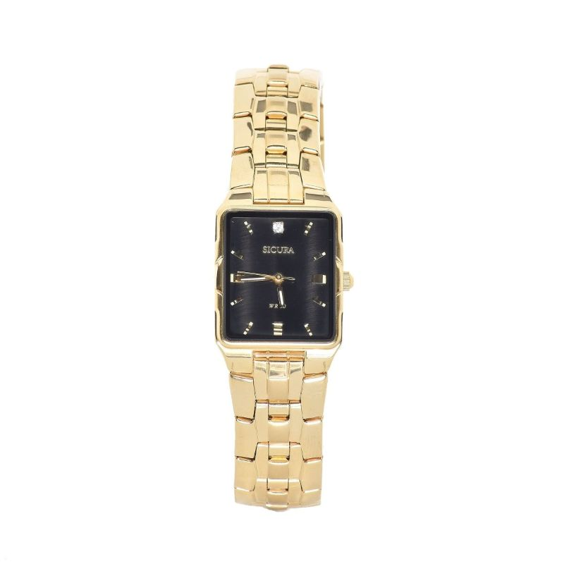 Sicura Men's Watches SAMG 2292 52E Black Quartz Stainless Steel Gold Tone