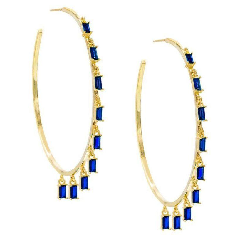 14K Gold Plated Dangling Emerald Cut Hoops-Blue