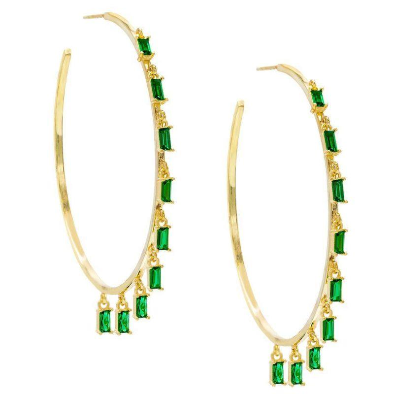 14K Gold Plated Dangling Emerald Cut Hoops-Green-Daily Steals