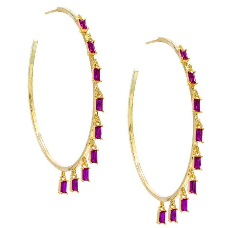 14K Gold Plated Dangling Emerald Cut Hoops-Purple-Daily Steals