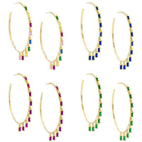 14K Gold Plated Dangling Emerald Cut Hoops-Daily Steals