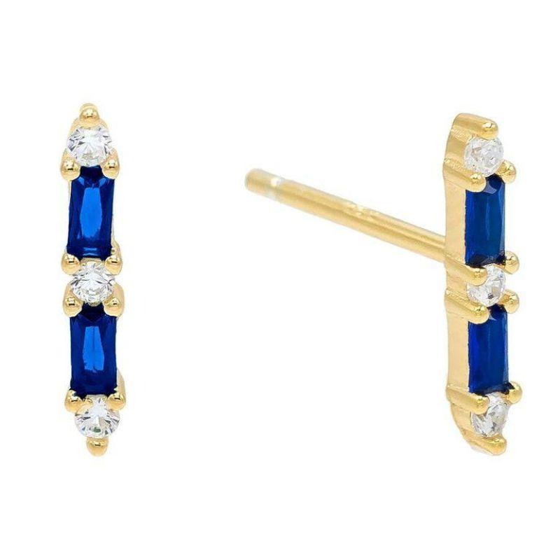 14K Gold Plated Duo Emerald Cut Sapphire Linear Studs-Blue-Daily Steals