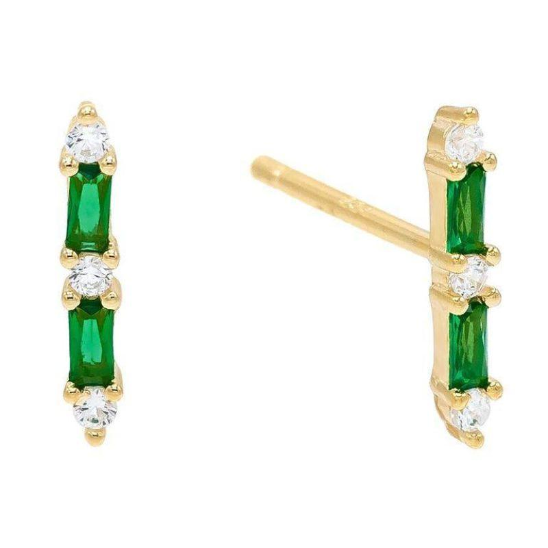 14K Gold Plated Duo Emerald Cut Sapphire Linear Studs-Green-Daily Steals