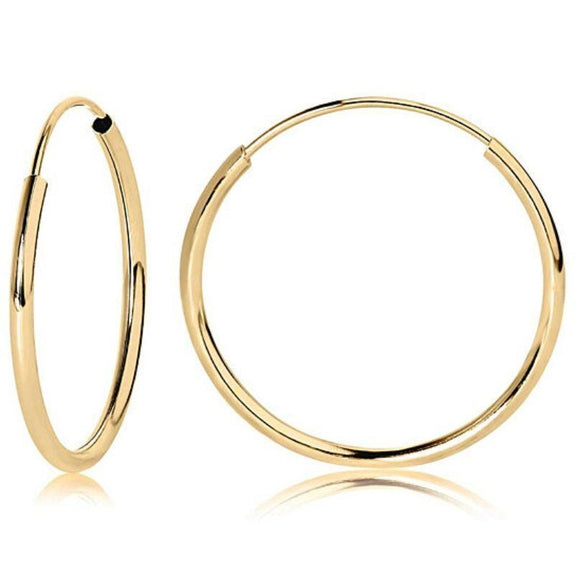 14k Yellow Gold 14MM Endless Thin Tube Hoop Earrings-