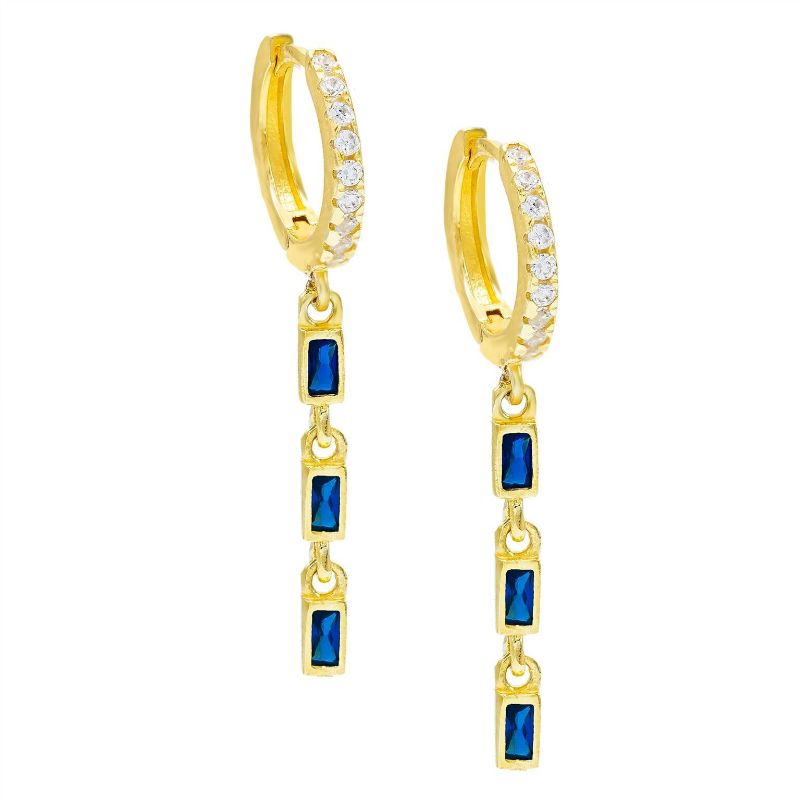 14K Gold Plated Emerald Cut Trio Dangling Pav'e Earrings-Blue-Daily Steals