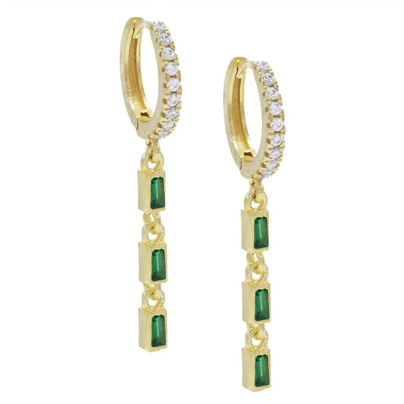 14K Gold Plated Emerald Cut Trio Dangling Pav'e Earrings-Green-Daily Steals