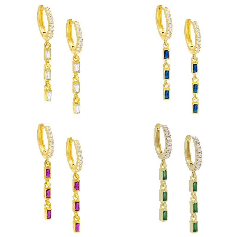 14K Gold Plated Emerald Cut Trio Dangling Pav'e Earrings-Daily Steals