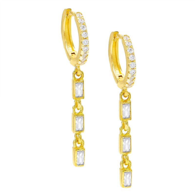14K Gold Plated Emerald Cut Trio Dangling Pav'e Earrings-White-Daily Steals