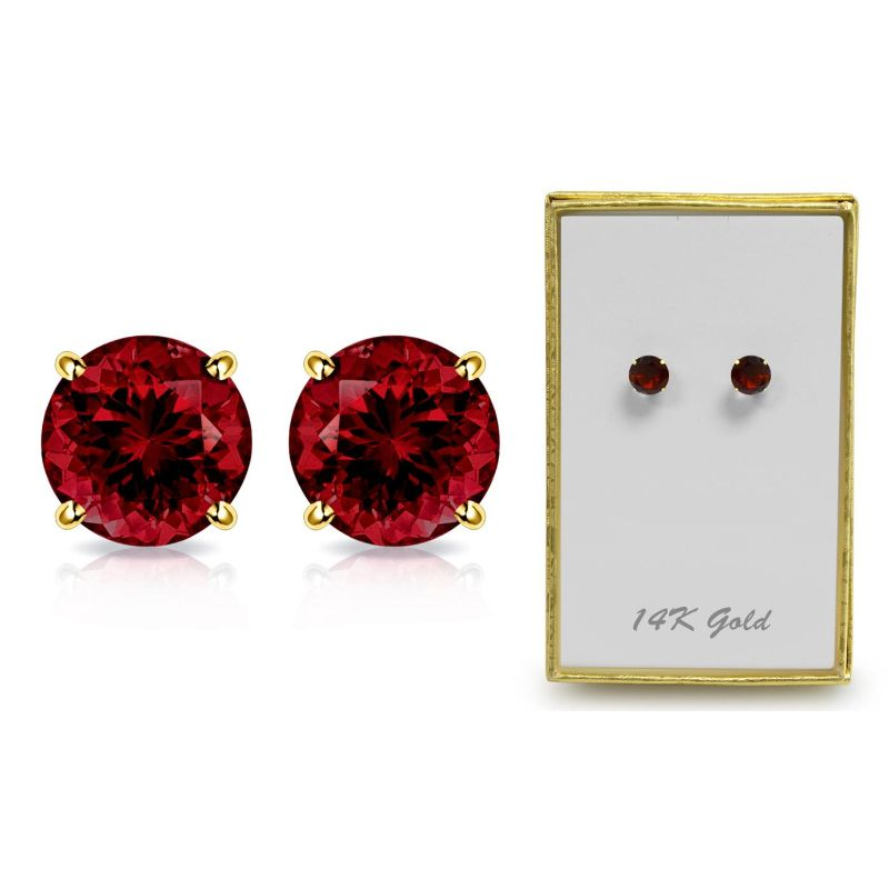 1.65 CTW Created Garnet Stud Earrings in Solid 14K Gold-Daily Steals