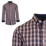 Mens Long Sleeve Slim-Fit Cotton Dress Shirts W/ Chest Pocket-Red/Brown-Small-Daily Steals