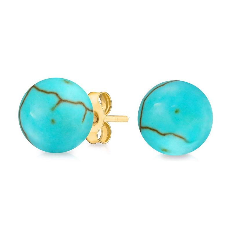 Solid 14K Gold Genuine Turquoise Ball Studs Earrings