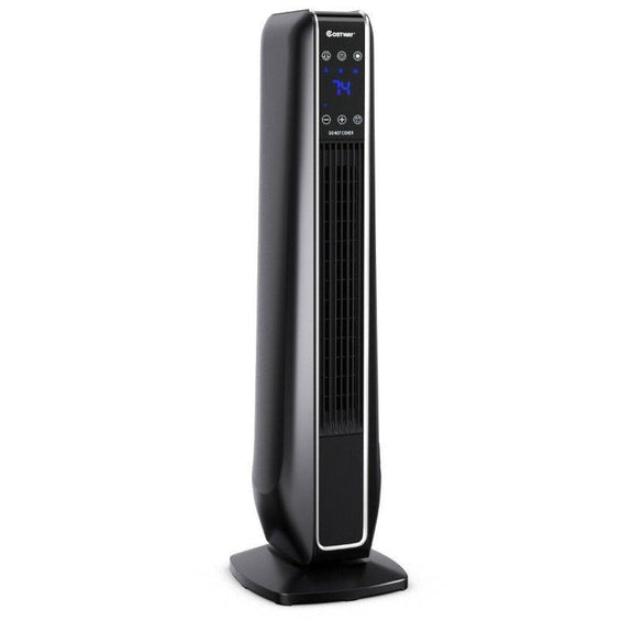 1500W Portable Oscillating Space Heater with Remote Control-Black-