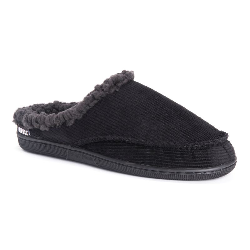 Muk Luks Men's Corduroy Clog Slippers-Black-Small (8-9)-Daily Steals