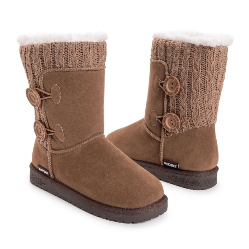 MUK LUKS Women's Matilda Boots-Taupe-7-Daily Steals
