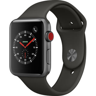Apple Watch Series 3 Smartwatch with GPS + Cellular, Space Gray Aluminum Case, Gray Sport Band