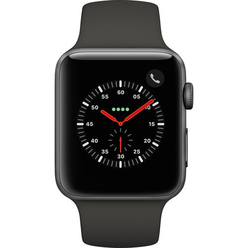 Daily Steals-Apple Watch Series 3 Smartwatch with GPS + Cellular, Space Gray Aluminum Case, Gray Sport Band-Wearables-