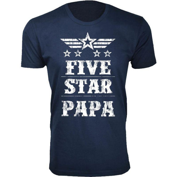 Men's Five Star Father's Day T-shirts-Papa - Navy-S-Daily Steals