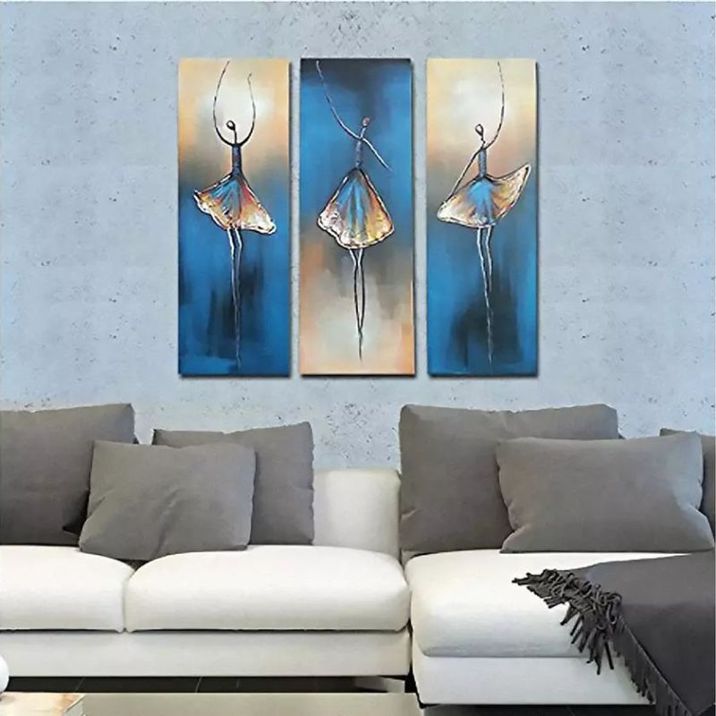 Multi-Panel Modern Abstract Hand Painted Oil Paintings on Canvas