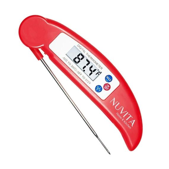 Nuvita Digital Cooking Thermometer, Instant Read with Folding Probe-Red-Daily Steals