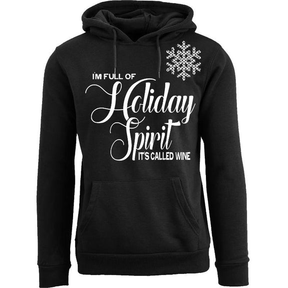 Women's Funny Christmas Pull Over Hoodie-Holiday Spirit It's Called Wine (Snow) - Black-XL-Daily Steals
