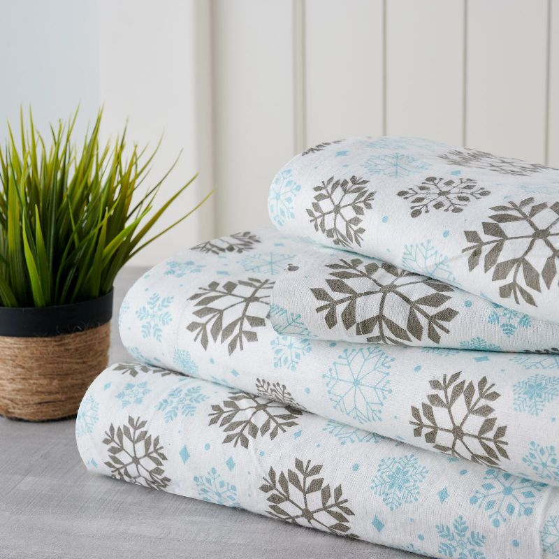 Bibb Home Holiday & Winter Printed Flannel Sheet Set 100% Cotton-Full-Grey Snowflakes-Daily Steals