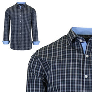 Mens Long Sleeve Slim-Fit Cotton Dress Shirts W/ Chest Pocket-Navy/Light Blue-Small-Daily Steals