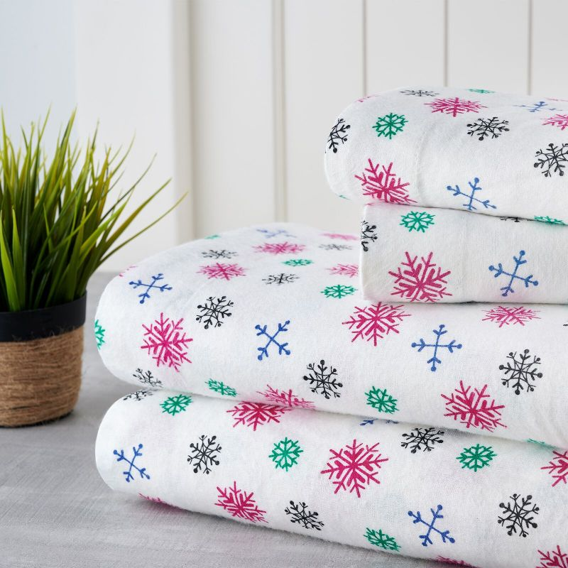 Bibb Home Holiday & Winter Printed Flannel Sheet Set 100% Cotton-Full-Colorful Snowflakes-Daily Steals