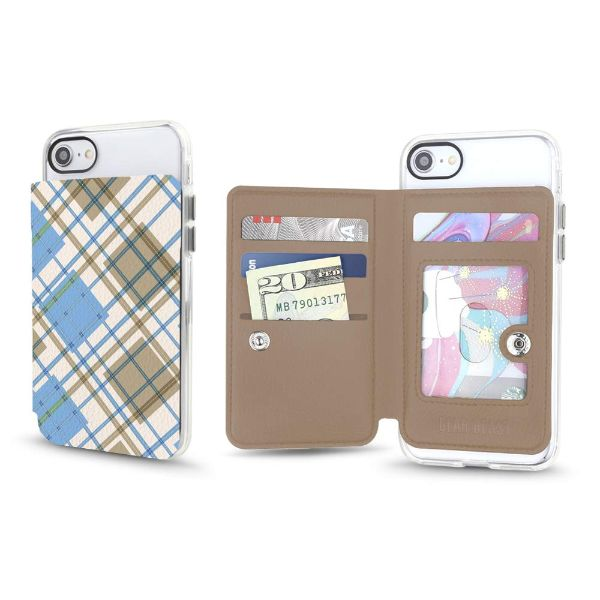 Gear Beast Universal Cell Phone Folio Wallet-Sky Blue Tartan-Daily Steals