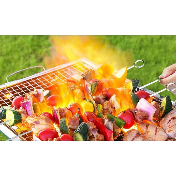 "16"" Stainless Steel Flat BBQ Grilling Skewers - 10 Pack-"