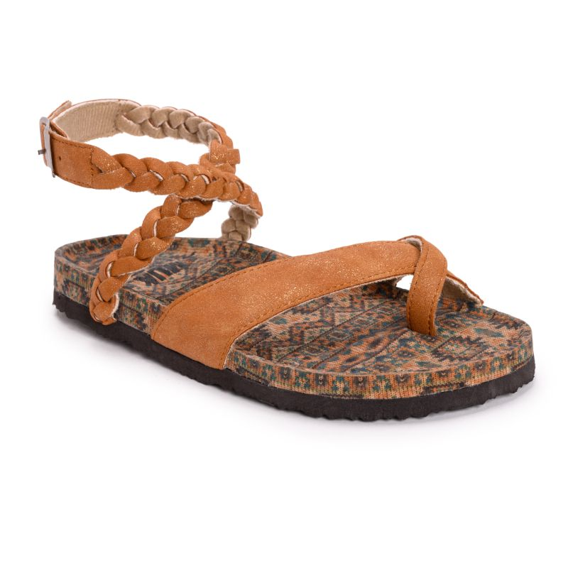 MUK LUKS Women's Estelle Sandals-Tan-9-Daily Steals