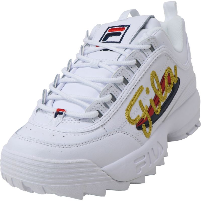 Fila Women's Disruptor Ii Signature White/Navy/Red Sneakers - Size 10-Daily Steals