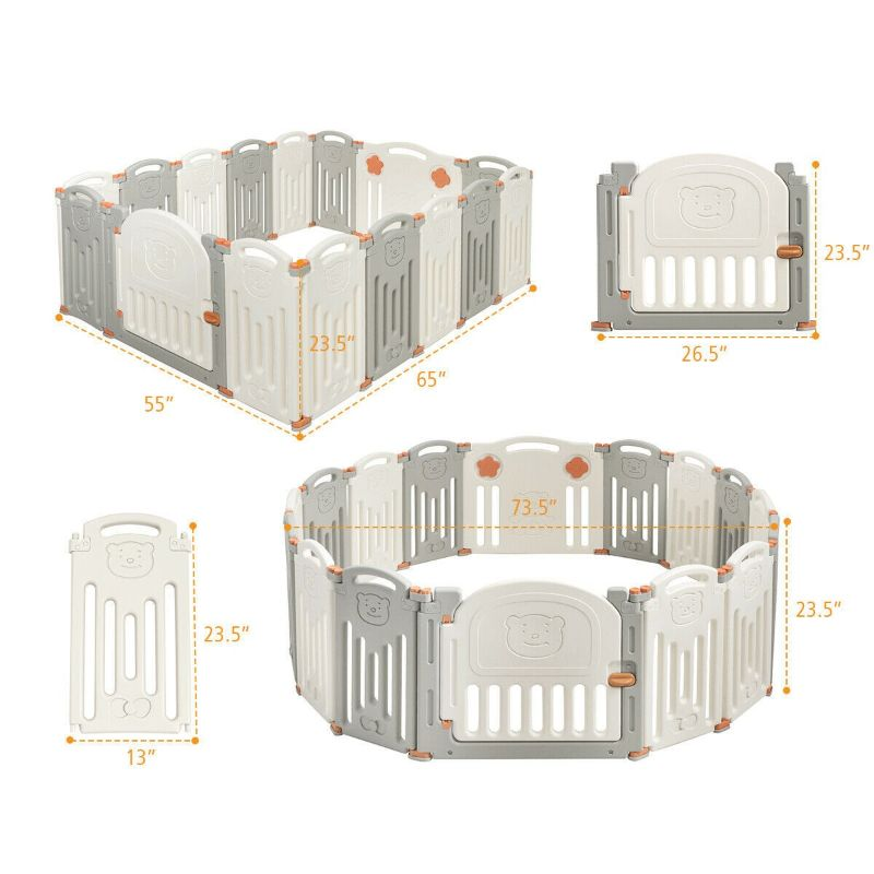 16 Panel Activity Safety Baby Playpen With Lock Door-Daily Steals