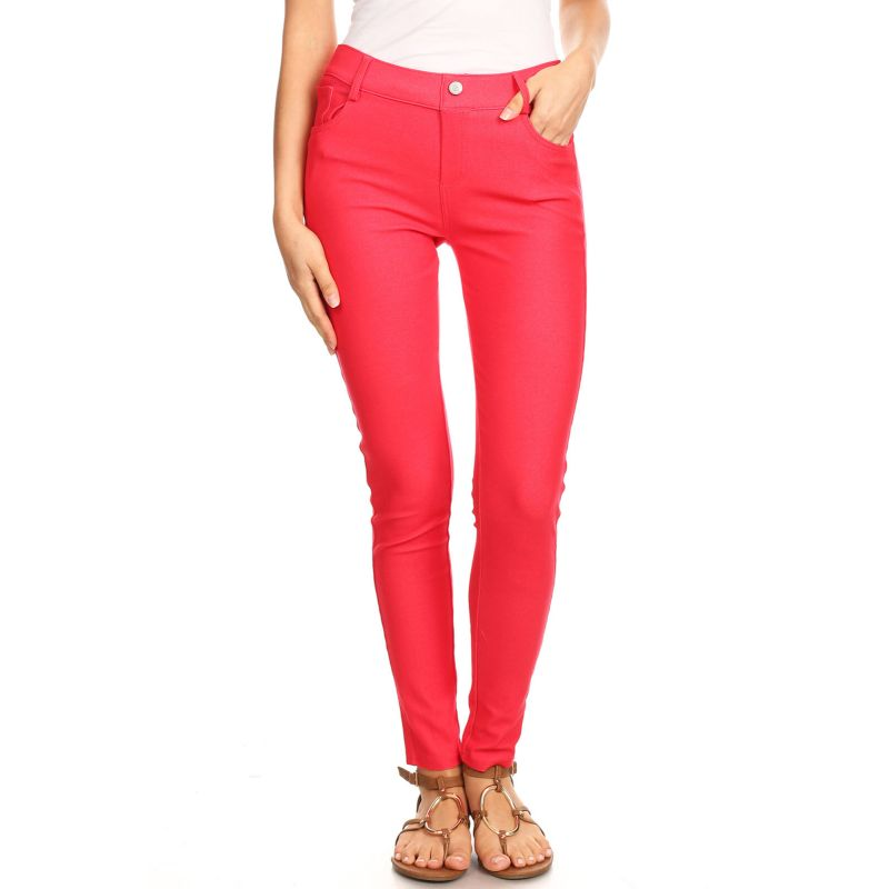 Coton mélangé complet féminin Jeggings-Rouge-Large-Daily Steals