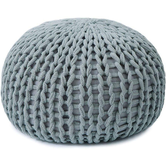 "18"" Ultra Plush Chunky Cable Knit Decorative Pouf-Grey-"