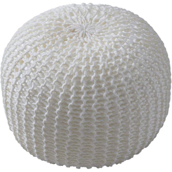 "18"" Ultra Plush Chunky Cable Knit Decorative Pouf-Ivory-"