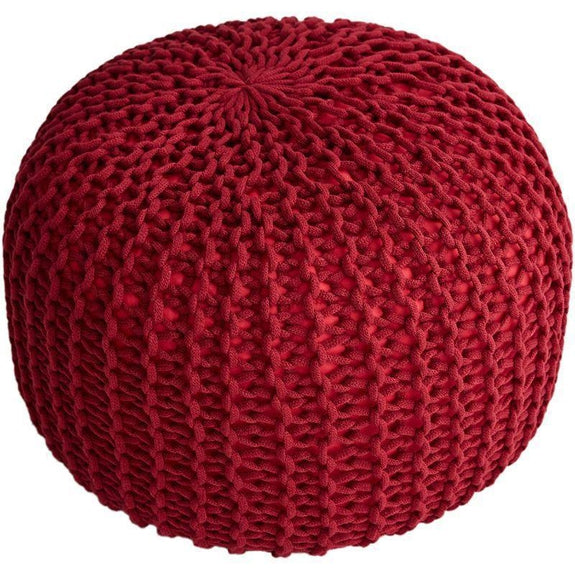 "18"" Ultra Plush Chunky Cable Knit Decorative Pouf-Burgundy-"